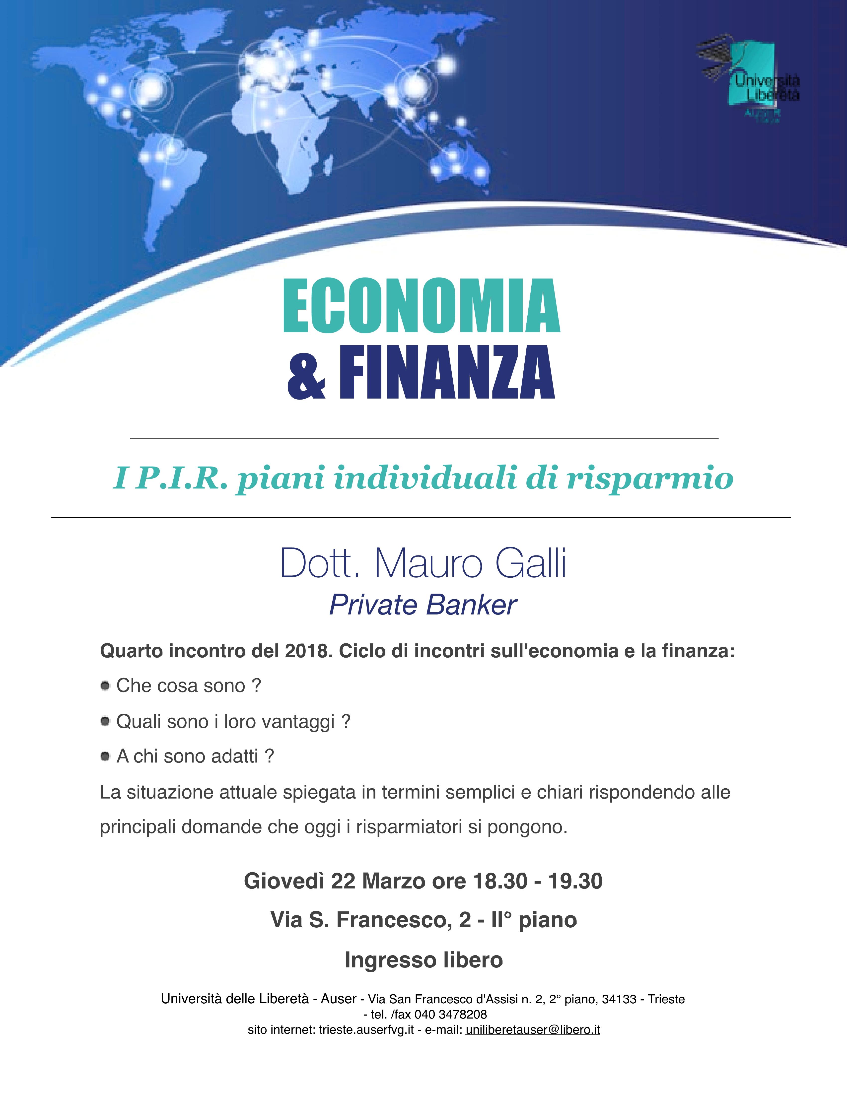 Economia e finanza 22 marzo 2018
