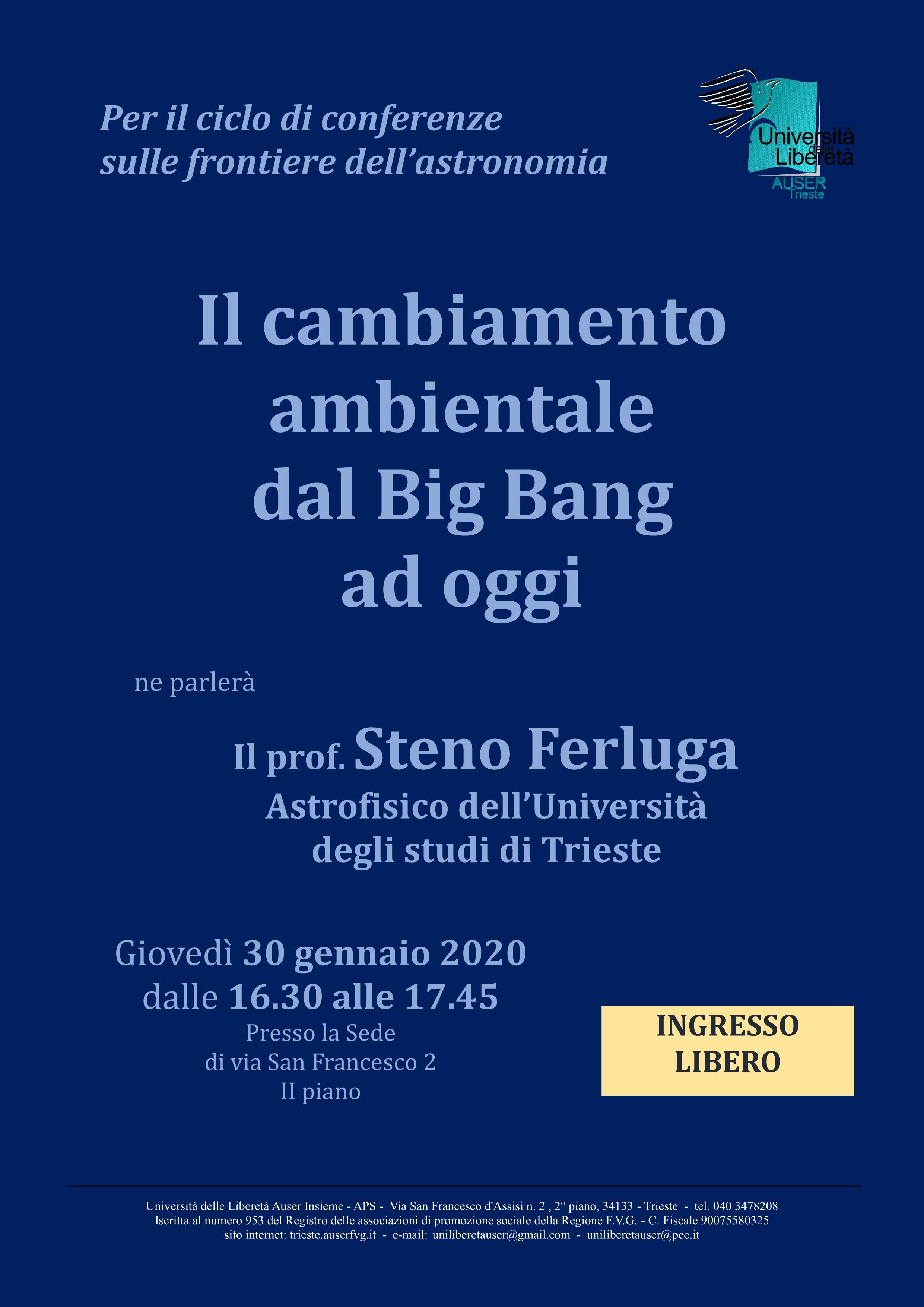 Il cambiamento ambientale dal Big Bang ad oggi Ferluga1