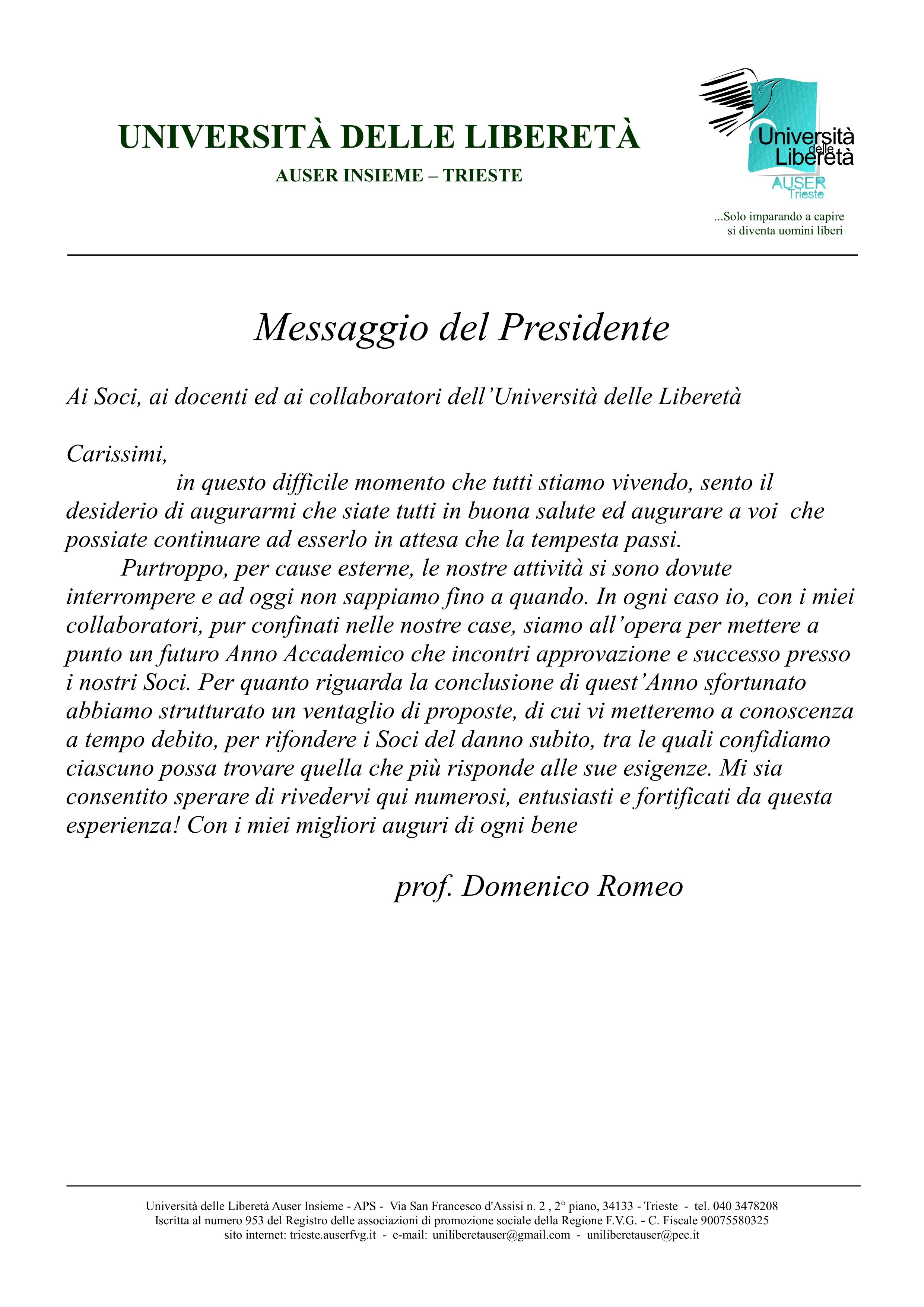 Messaggio del Presidente1