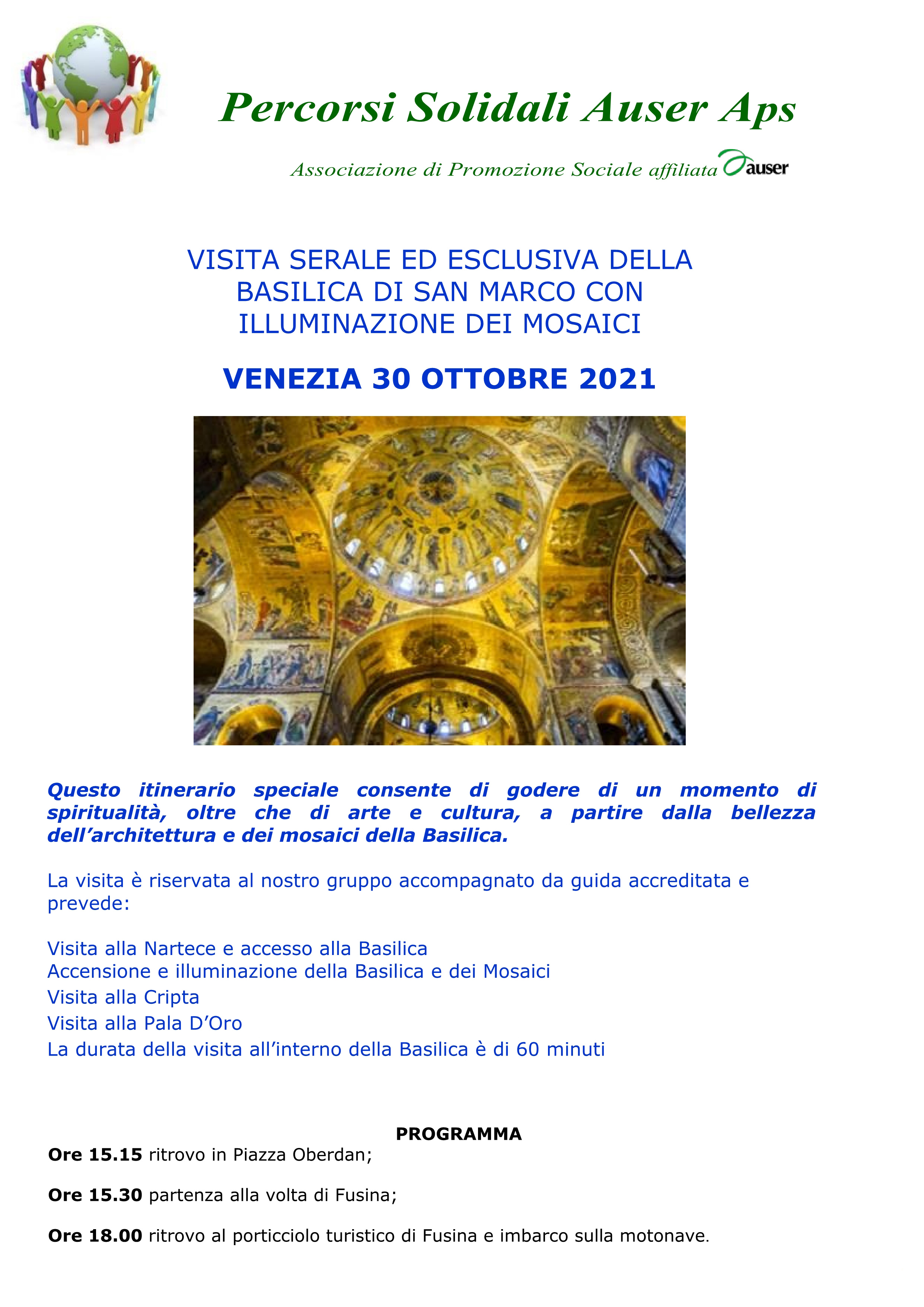 Visita Basilica S. Marco Venezia 30 ottobre 1